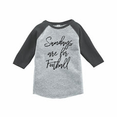 7 ate 9 Apparel Funny Kids Football Sunday Baseball Tee Grey