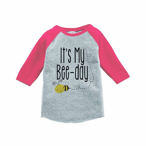7 ate 9 Apparel Girl's Bee Birthday Pink Raglan Tee