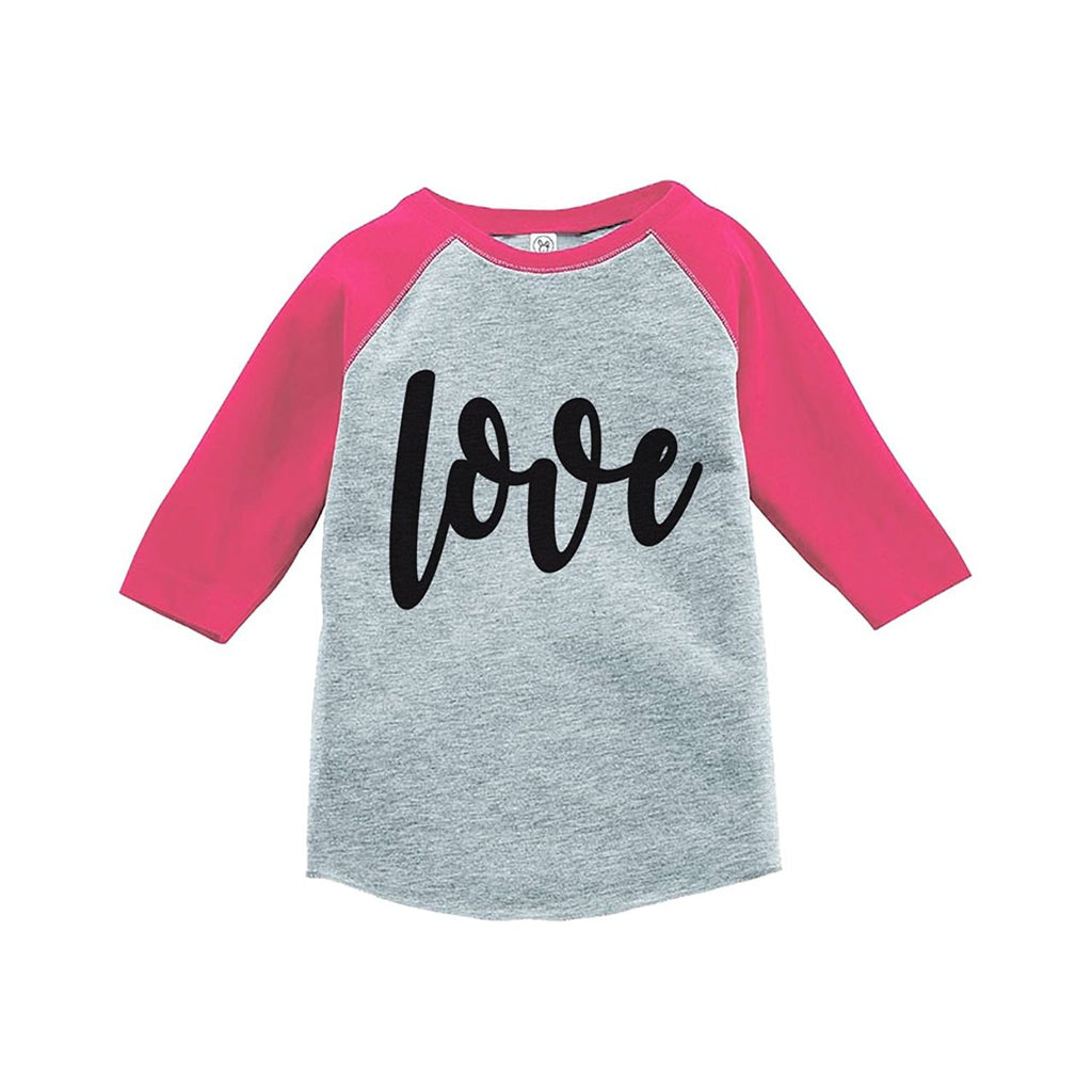 7 ate 9 Apparel Kids Love Happy Valentine's Day Pink Raglan