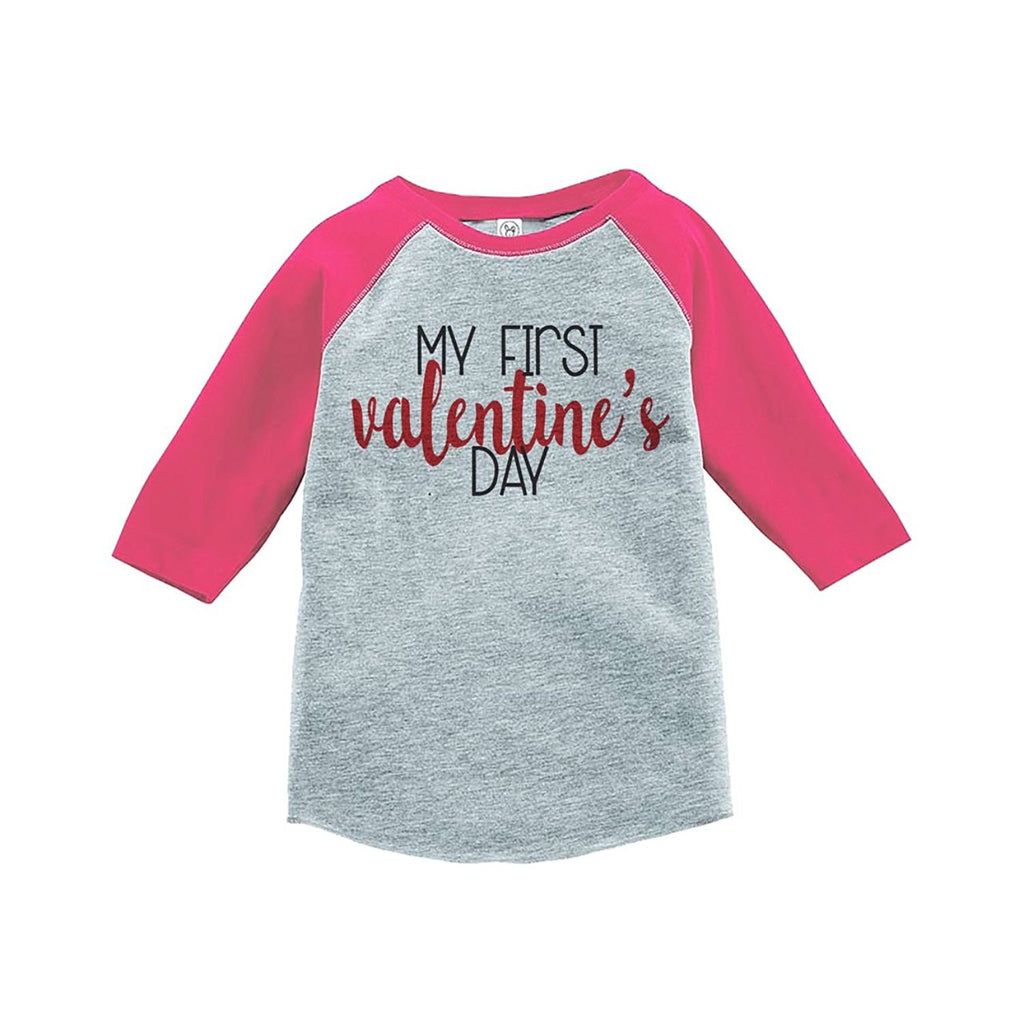 7 ate 9 Apparel Kids My First Valentine's Day Pink Raglan