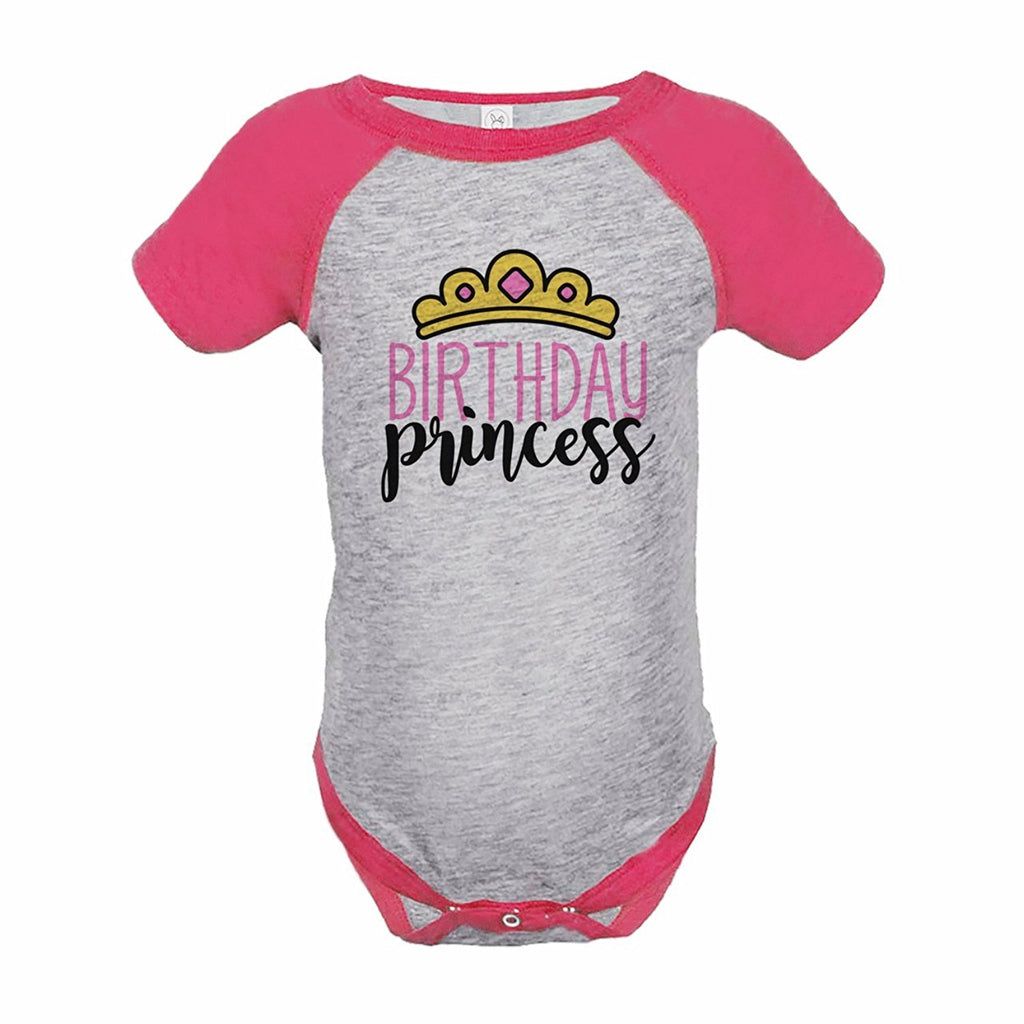 7 ate 9 Apparel Girl's Princess Birthday Pink Raglan Onepiece 18 Months