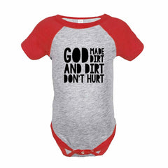 7 ate 9 Apparel Funny Kids God Made Dirt Baseball Onepiece Red