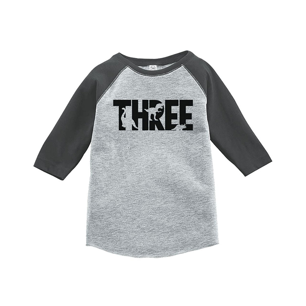7 ate 9 Apparel Three Third Birthday Dinosaur Grey Baseball Tee
