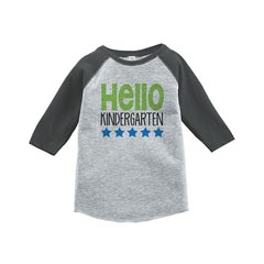 7 ate 9 Apparel Kids Hello Kindergarten School Grey Baseball Tee