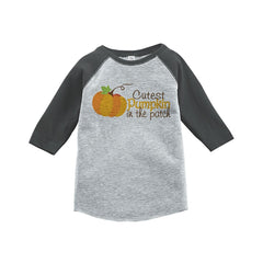 7 ate 9 Apparel Baby's Cutest Pumpkin In The Patch Thanksgiving Grey Raglan