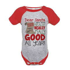 7 ate 9 Apparel Baby's I've Been Good All Year Christmas Onepiece Red