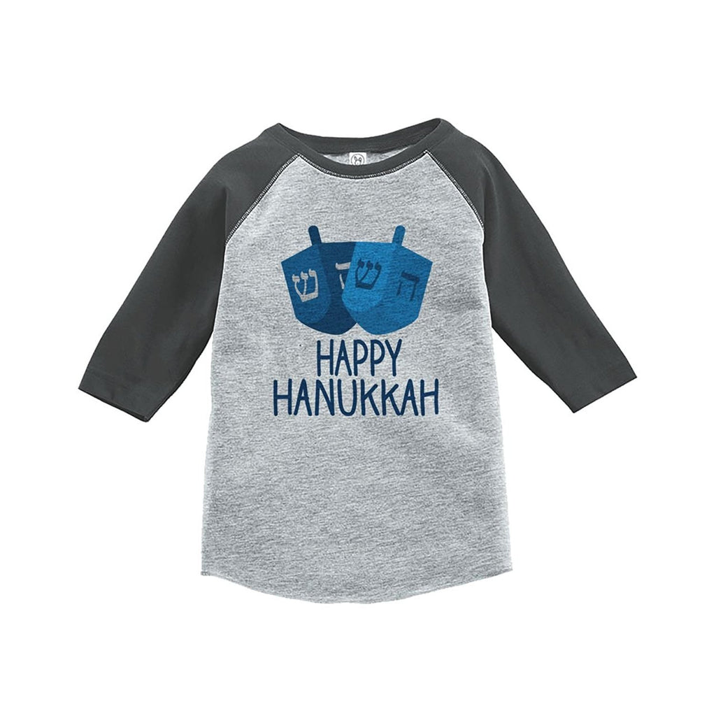 7 ate 9 Apparel Baby's Happy Hanukkah Raglan Grey