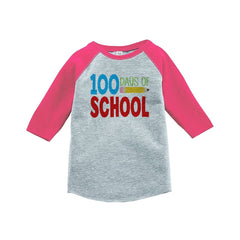 7 ate 9 Apparel Girls 100 Days of School Pink Baseball Tee
