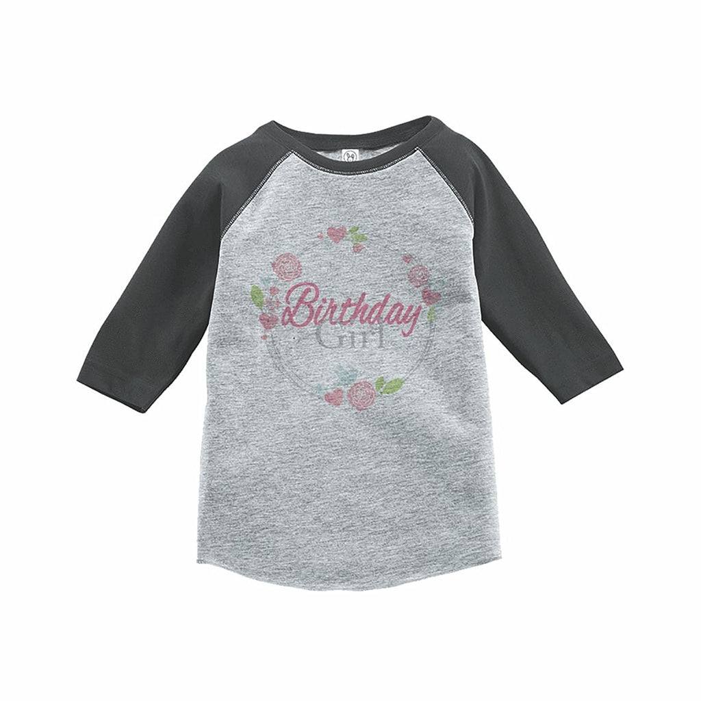 7 ate 9 Apparel Girl's Floral Birthday Grey Raglan Tee