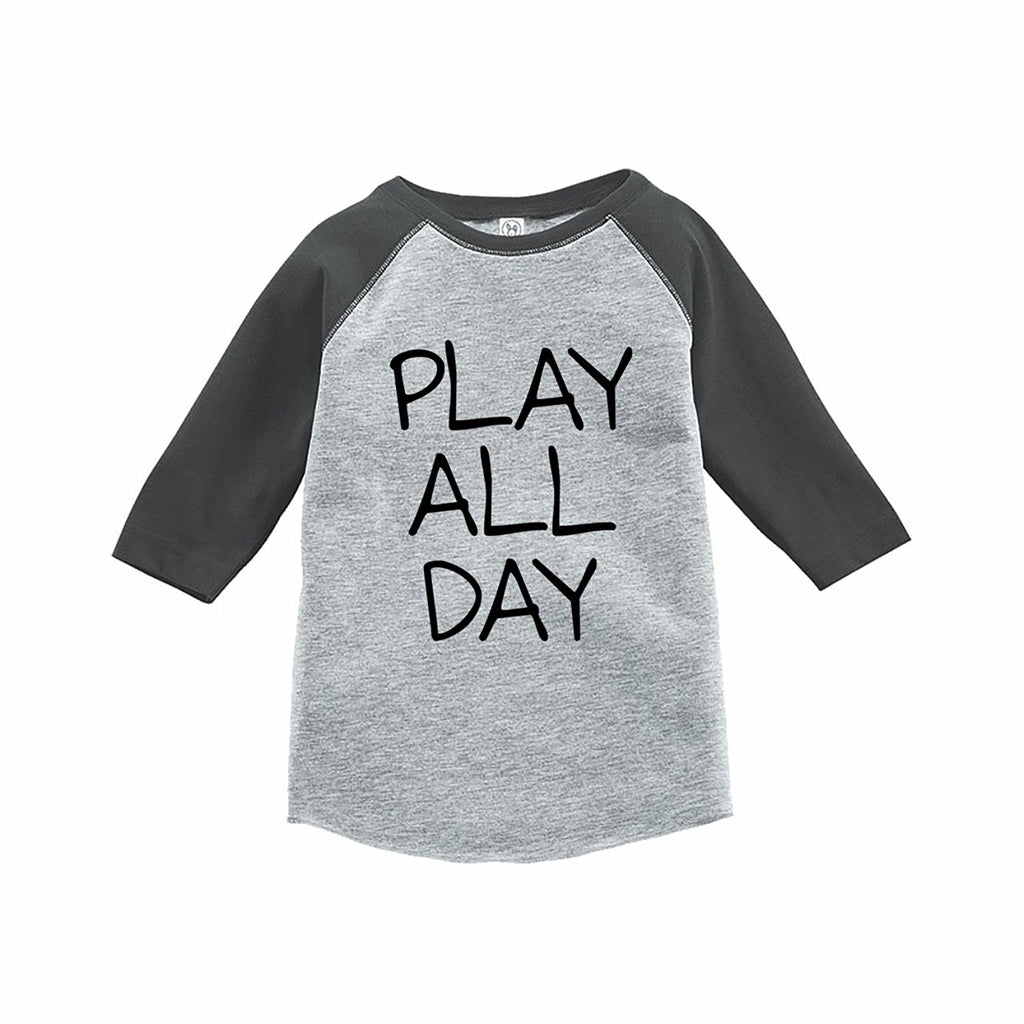 7 ate 9 Apparel Funny Kids Play All Day Baseball Tee Grey