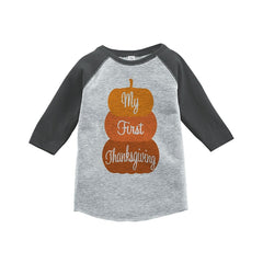 7 ate 9 Apparel Baby's First Thanksgiving Grey Raglan