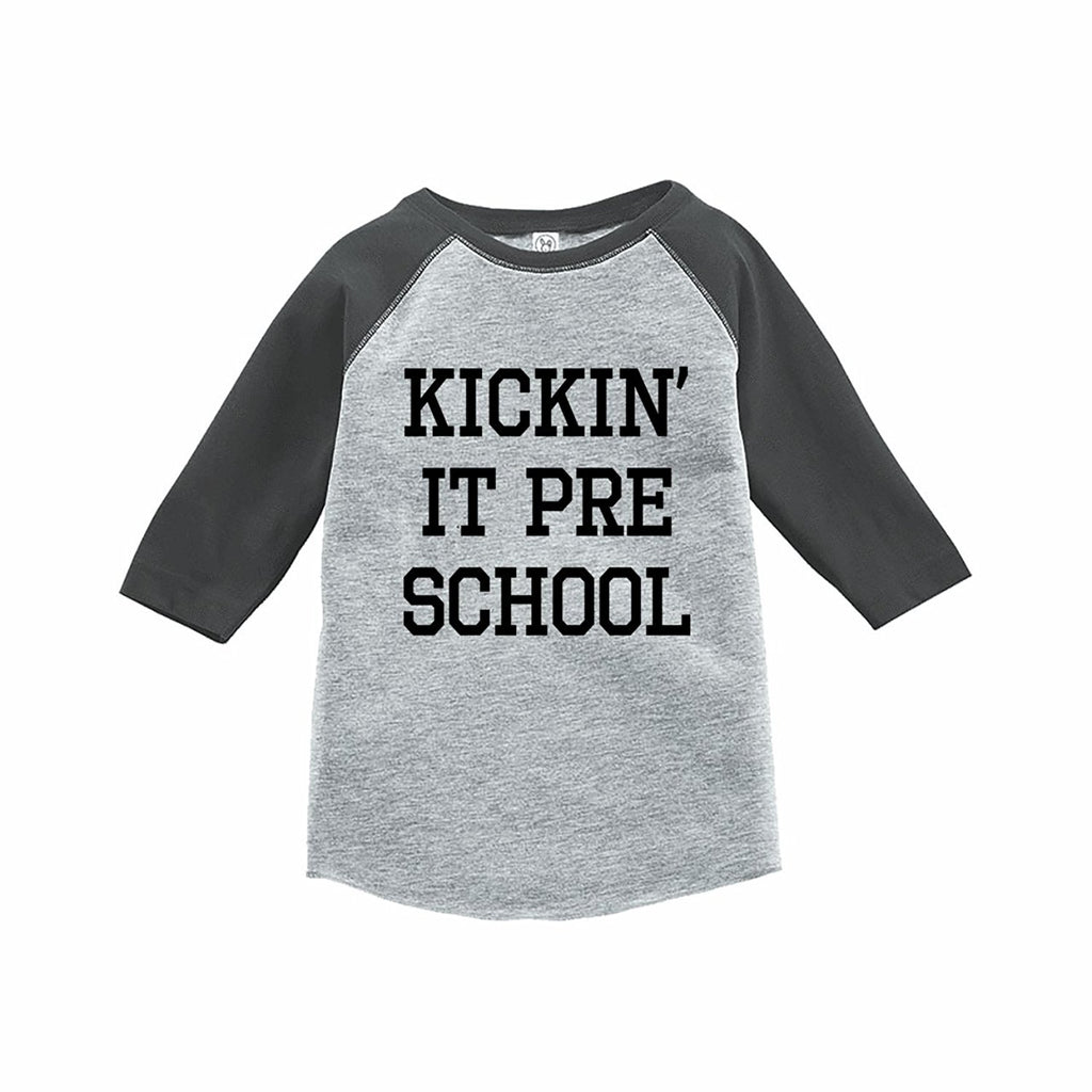 7 ate 9 Apparel Funny Kids Preschool Baseball Tee Grey