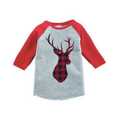 7 ate 9 Apparel Youth Plaid Deer Christmas Raglan Shirt Red