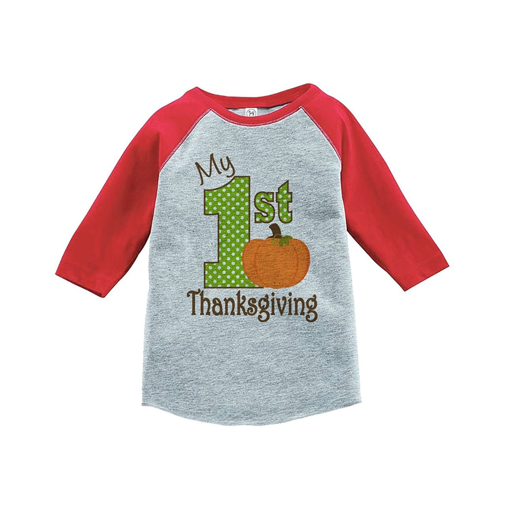 7 ate 9 Apparel Baby's 1st Thanksgiving Red Raglan