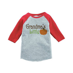 7 ate 9 Apparel Baby's Grandma's Little Pumpkin Fall Red Raglan