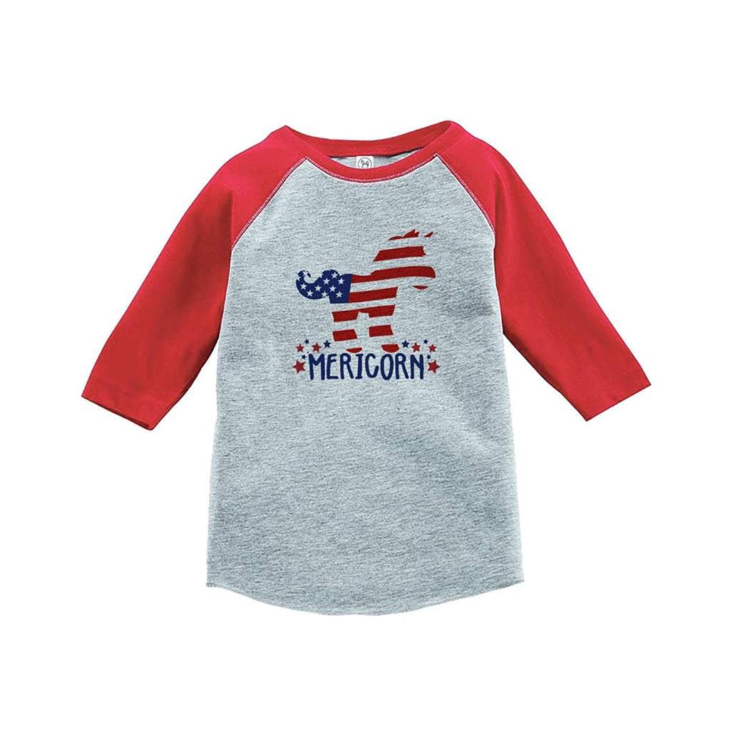 7 ate 9 Apparel Kids Unicorn 4th of July Red Baseball Tee