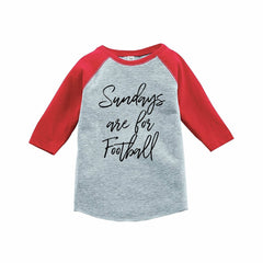7 ate 9 Apparel Funny Kids Football Sunday Baseball Tee Red