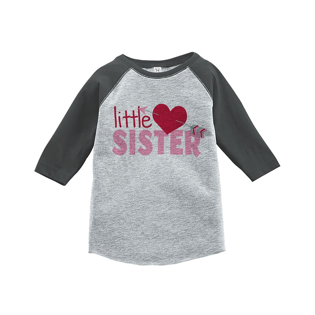 7 ate 9 Apparel Girl's Little Sister Happy Valentine's Day Grey Raglan
