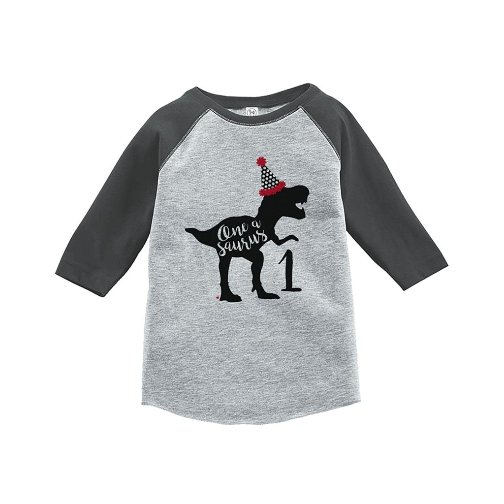 7 ate 9 Apparel One First Birthday Dinosaur Grey Baseball Tee
