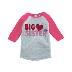 7 ate 9 Apparel Girl's Big Sister Happy Valentine's Day Pink Raglan