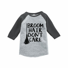 7 ate 9 Apparel Kids Broom Hair Halloween Raglan Tee Grey