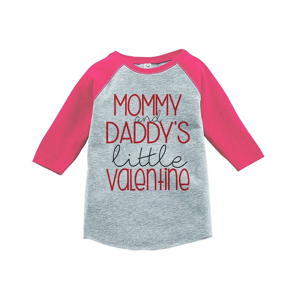 7 ate 9 Apparel Girl's Little Valentine Happy Valentine's Day Pink Raglan