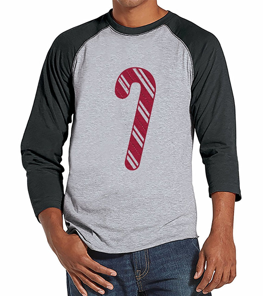 Candy Cane - Men's Grey Raglan Tee