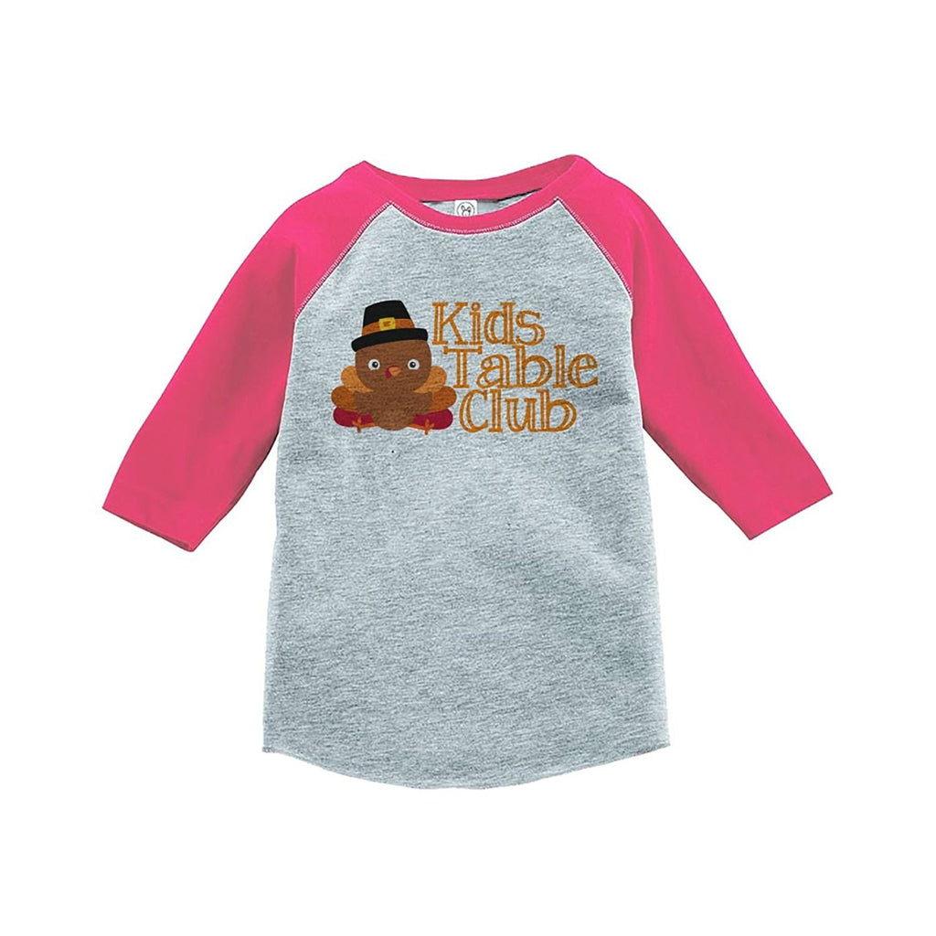 7 ate 9 Apparel Baby Girl's Kid's Table Thanksgiving Pink Raglan