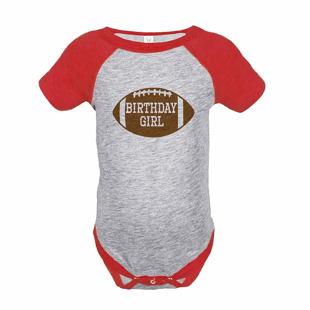 7 ate 9 Apparel Girl's Football Birthday Red Raglan Onepiece