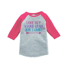 7 ate 9 Apparel Girls Look Out 2nd Grade Pink Baseball Tee