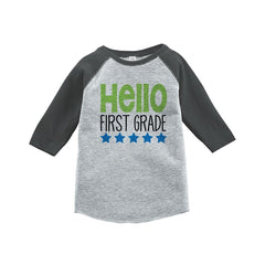 7 ate 9 Apparel Kids Hello First Grade School Grey Baseball Tee
