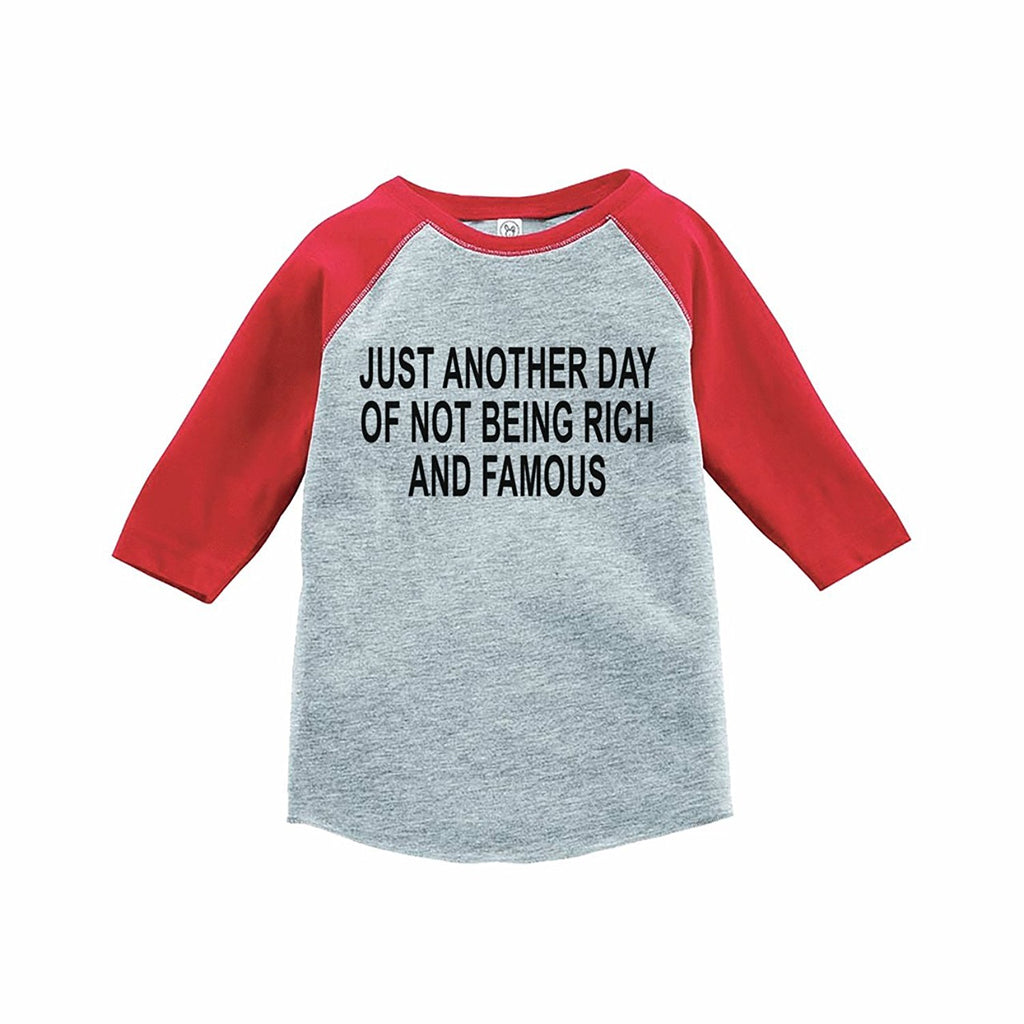 7 ate 9 Apparel Funny Kids Not Rich and Famous Baseball Tee Red