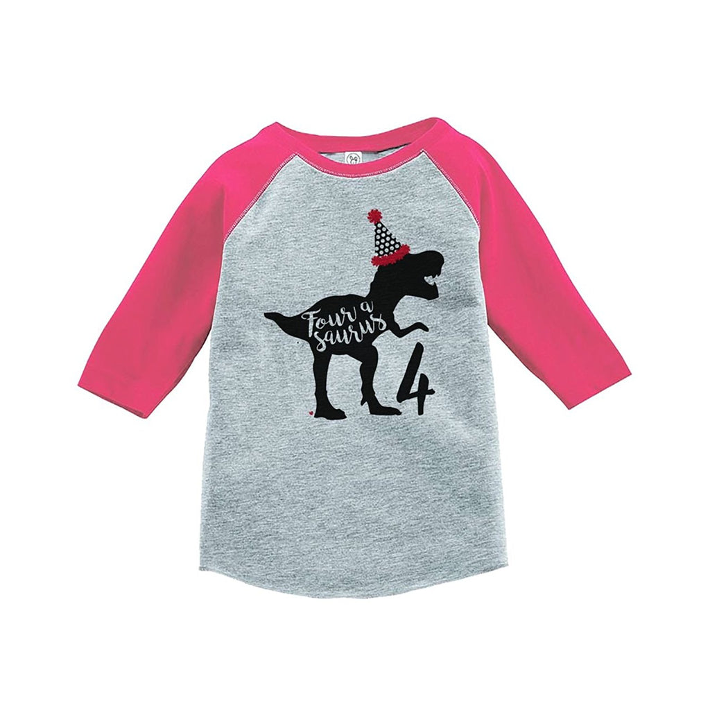 7 ate 9 Apparel Four Forth Birthday Dinosaur Pink Baseball Tee