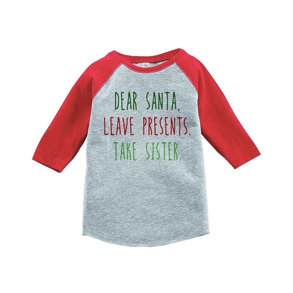 7 ate 9 Apparel Youth Funny Dear Santa Christmas Raglan Shirt Red