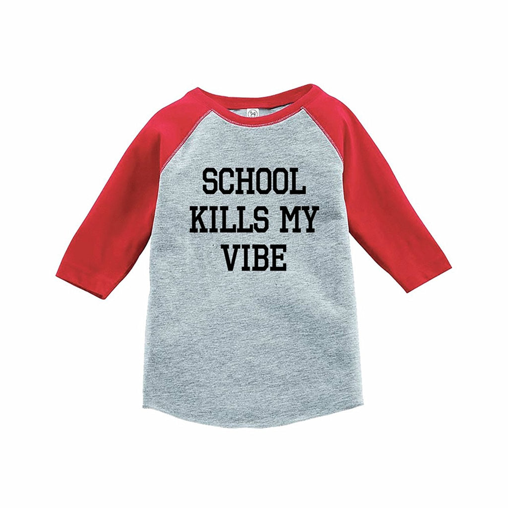 7 ate 9 Apparel Funny Kids School Vibes Baseball Tee Red