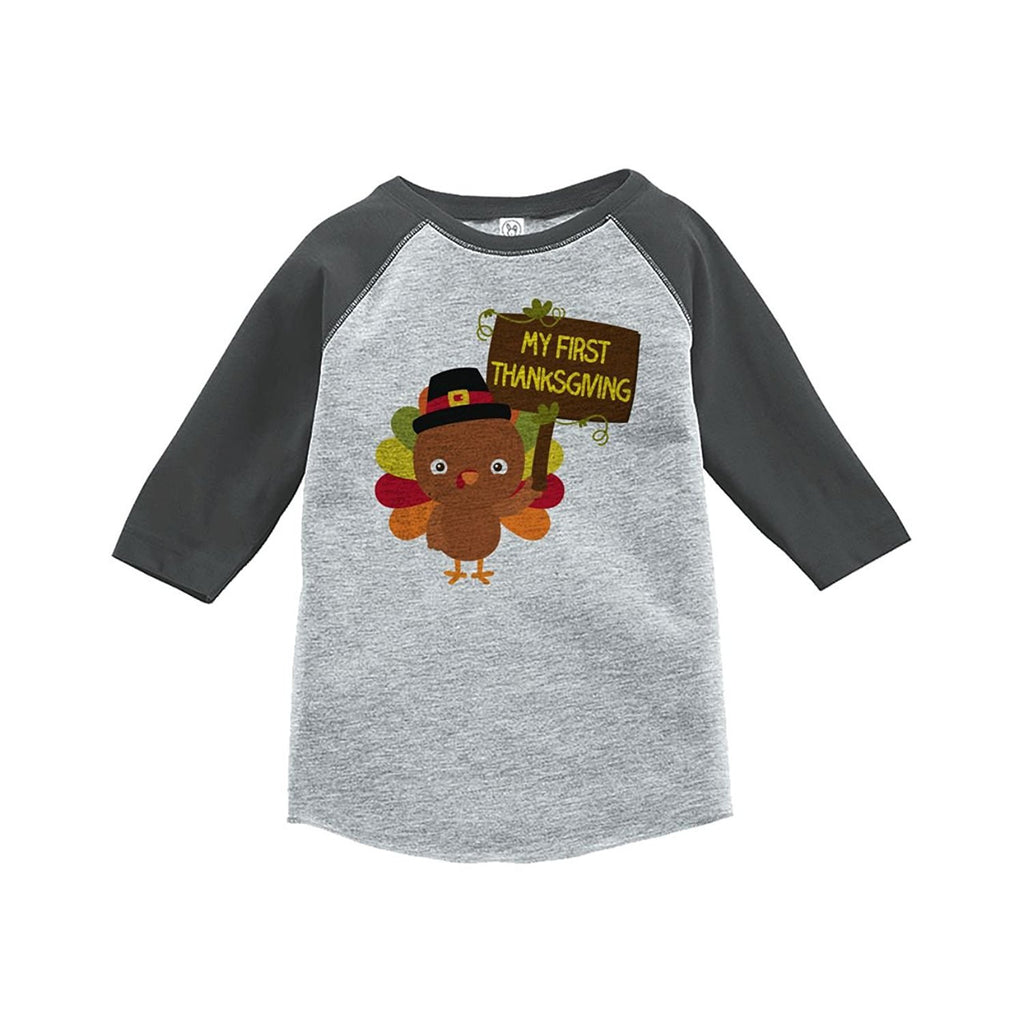 7 ate 9 Apparel Baby's My First Thanksgiving Grey Raglan