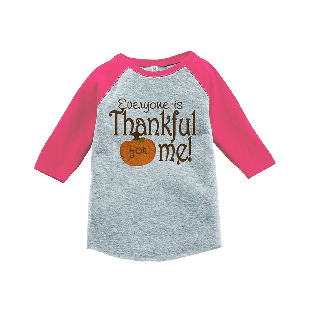 7 ate 9 Apparel Baby's Thankful for Baby Thanksgiving Pink Raglan