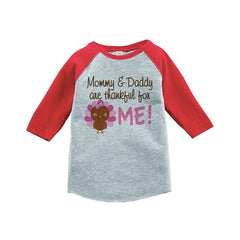 7 ate 9 Apparel Baby Girl's Thankful For Me Thanksgiving Red Raglan