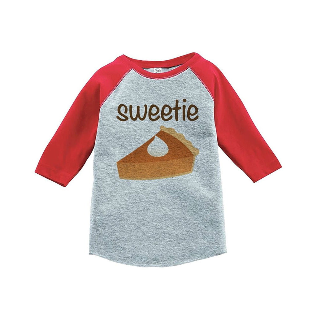 7 ate 9 Apparel Baby's Sweetie Pie Thanksgiving Red Raglan