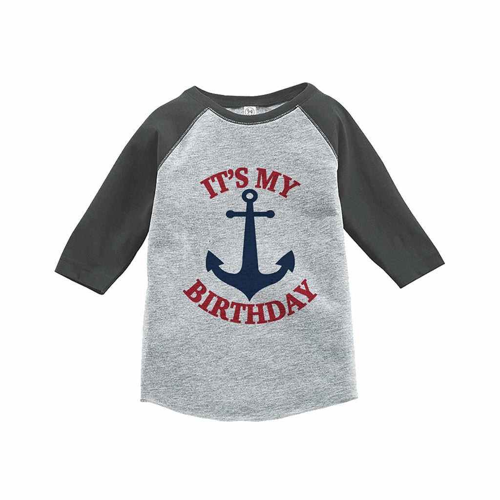 7 ate 9 Apparel Kids Nautical Anchor Birthday Grey Raglan Tee
