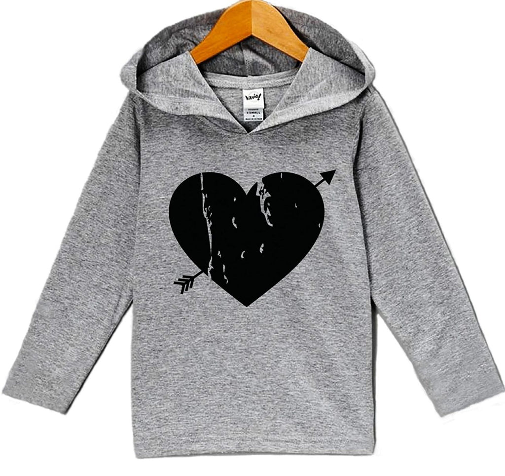 7 ate 9 Apparel Baby's Black Heart Valentine's Day Hoodie