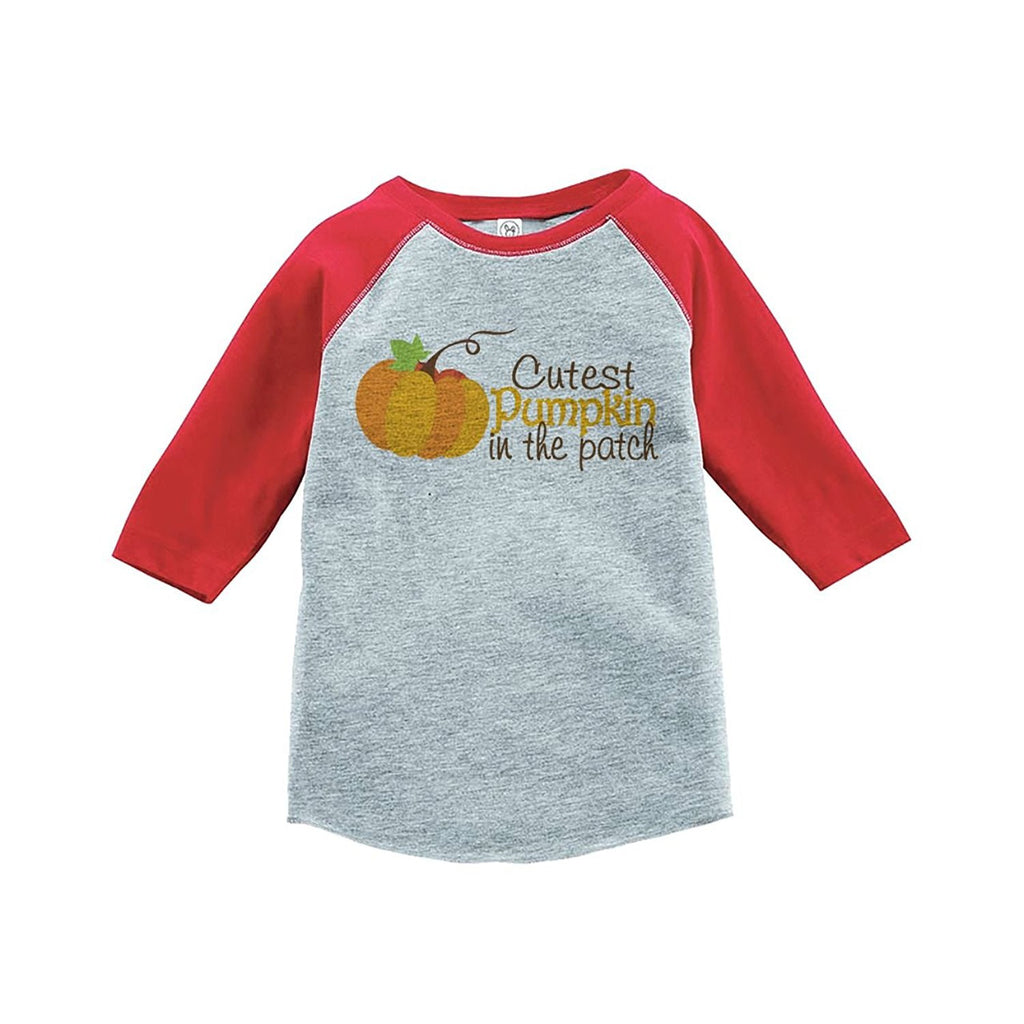 7 ate 9 Apparel Baby's Cutest Pumpkin In The Patch Thanksgiving Red Raglan