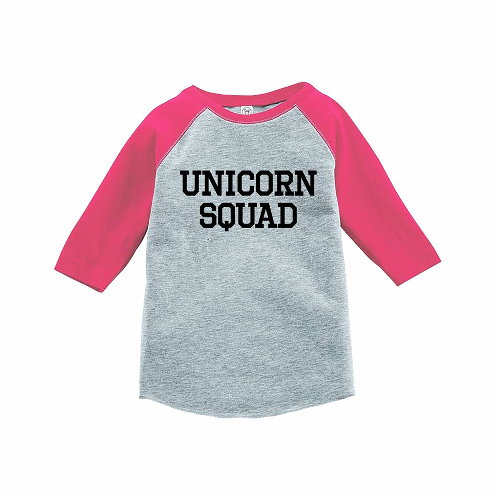 7 ate 9 Apparel Funny Kids Unicorn Squad Baseball Tee Pink
