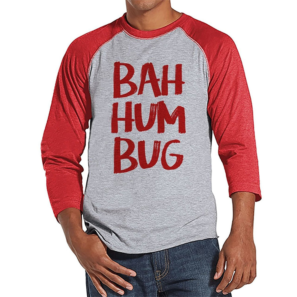7 ate 9 Apparel Mens Ba Hum Bug Christmas Raglan