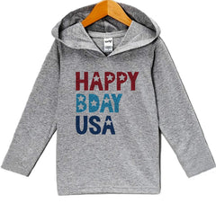 7 ate 9 Apparel Kid's Happy Bday USA 4th of July Hoodie Pullover