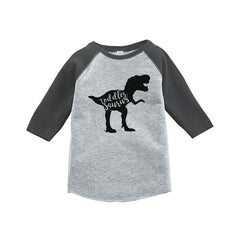 7 ate 9 Apparel Kids Dinosaur Toddlersaurus Grey Baseball Tee