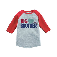 7 ate 9 Apparel Boy's Big Brother Happy Valentine's Day Red Raglan