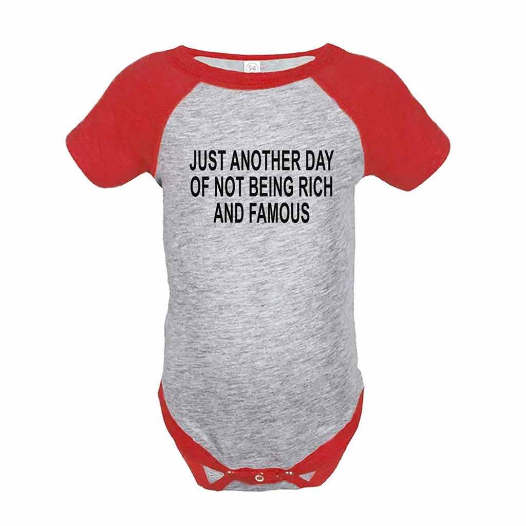 7 ate 9 Apparel Funny Kids Not Rich and Famous Baseball Onepiece Red
