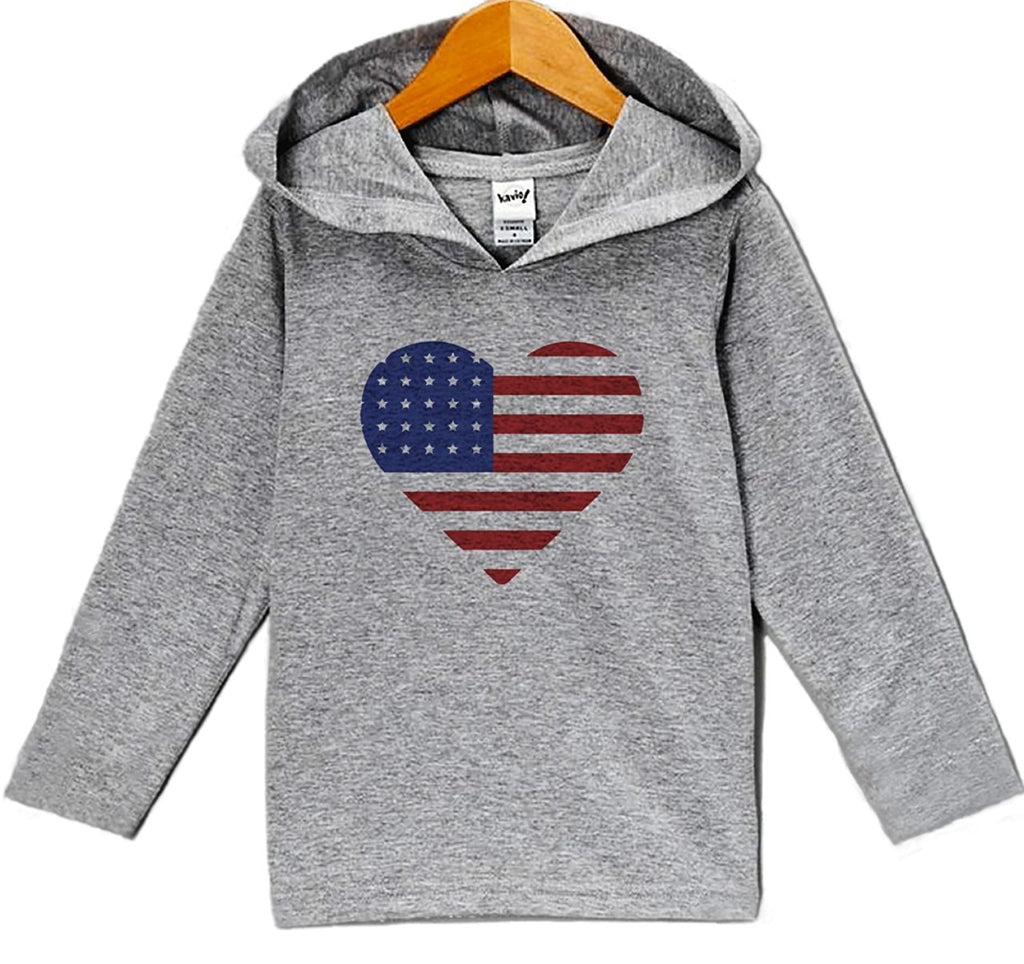 7 ate 9 Apparel Kid's Heart Flag 4th of July Hoodie Pullover