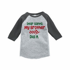 7 ate 9 Apparel Funny Kids Santa Christmas Raglan Tee Grey